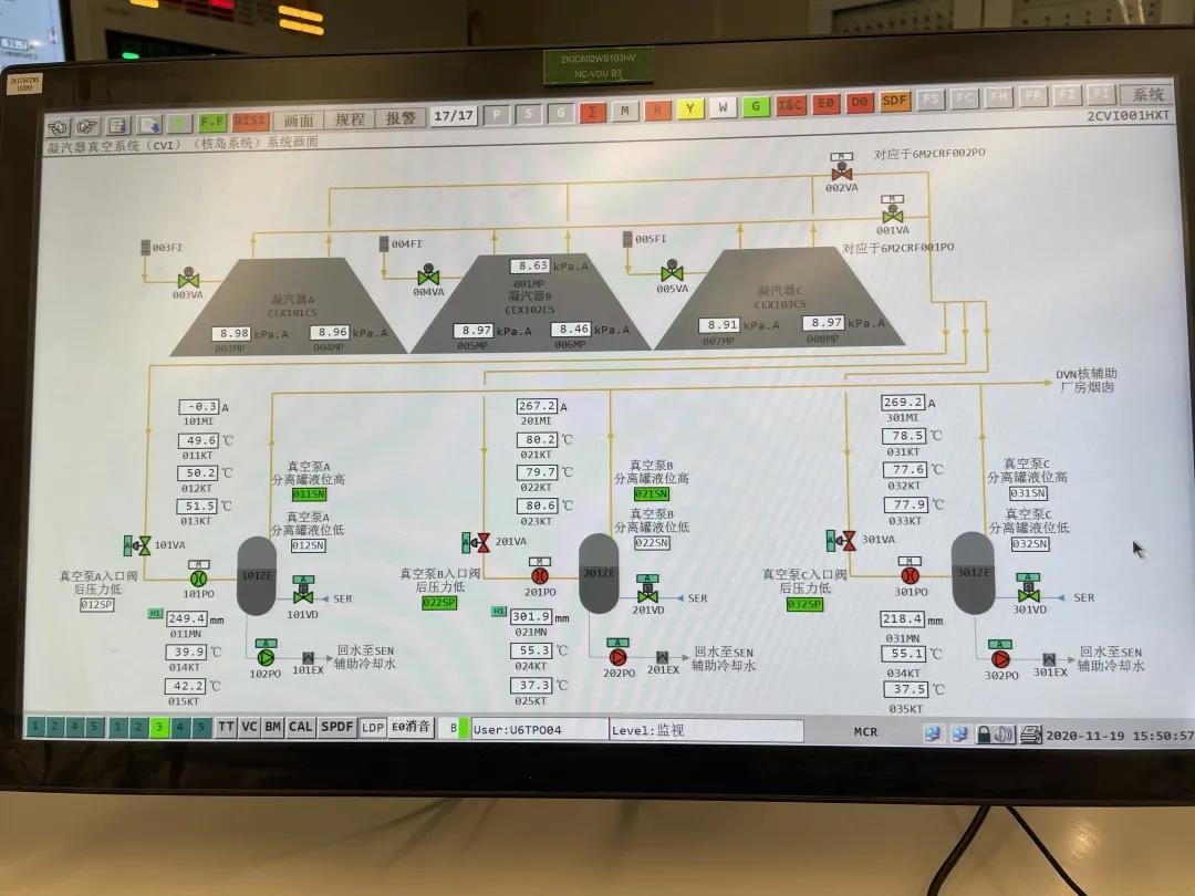 「2020年11月19日」田湾核电站6号机组常规岛抽真空试验顺利完成